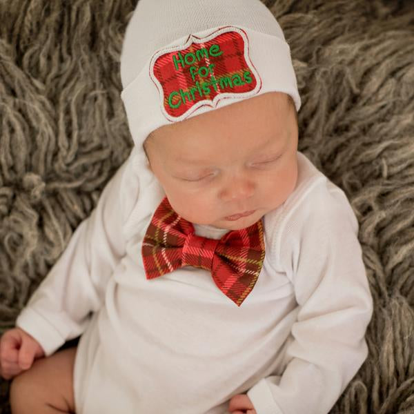 ilybean Home for Christmas Newborn Christmas Hospital Hat and Bow Tie Onsie Set SET