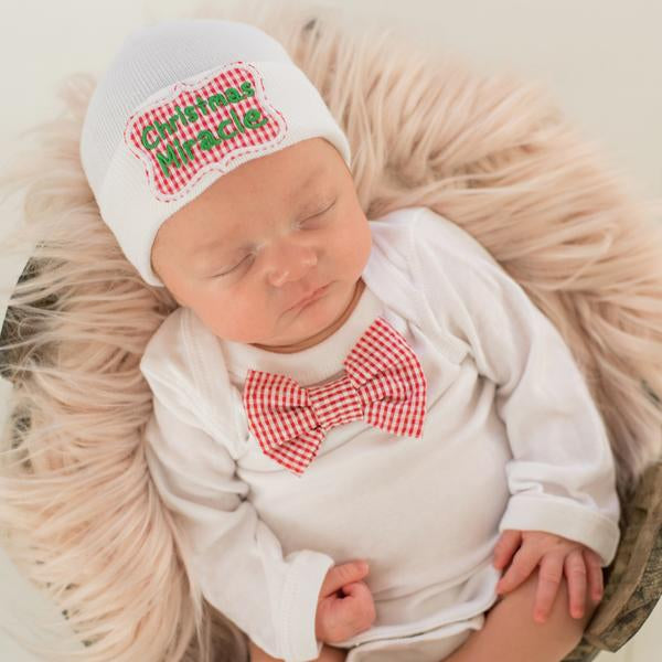 ilybean Christmas Miracle Newborn Christmas Hospital Hat and Bow Tie Onsie Set SET