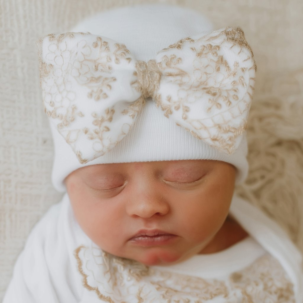 Gold Floral Lace Bow White Hospital Hat- Nursery Beanie for Girls