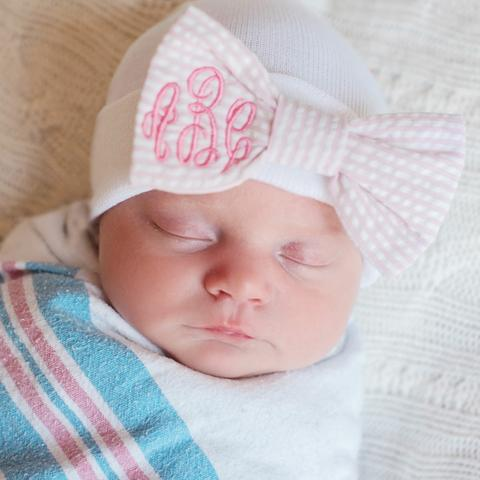 ilybean MONOGRAMMED Seersucker Stripe Pink and White Bow Newborn Girl Hospital Hat Newborn Girl Hat