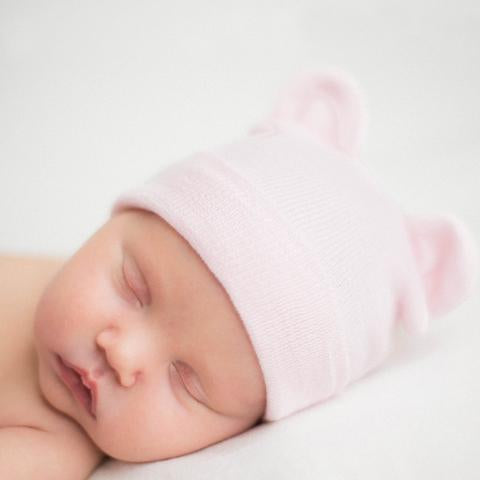 ilybean Pink Baby Bear Newborn Hospital Hat for girls - newborn girl  hospital hat