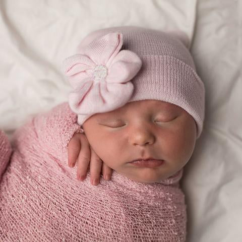 ilybean Pink Sparkles Button Newborn Pink Girl Hospital Hat