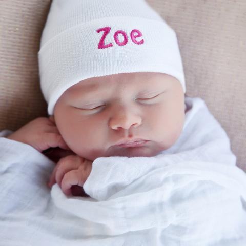 Solid Pink or White Personalized Newborn GIRL hospital hat with PINK Letters