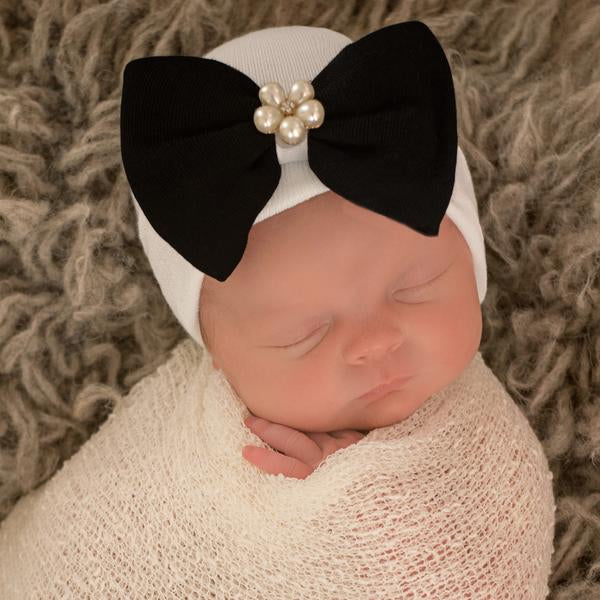 Bea Black Bow Bow with Flower Pearl Jewel White Newborn Hospital Hat
