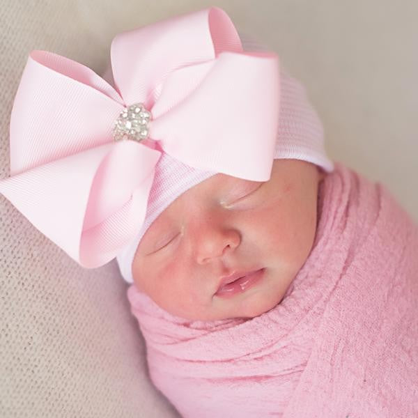 ilybean Bella Bow Pink and White Striped Hospital Hat with Pink Ribbon Bow