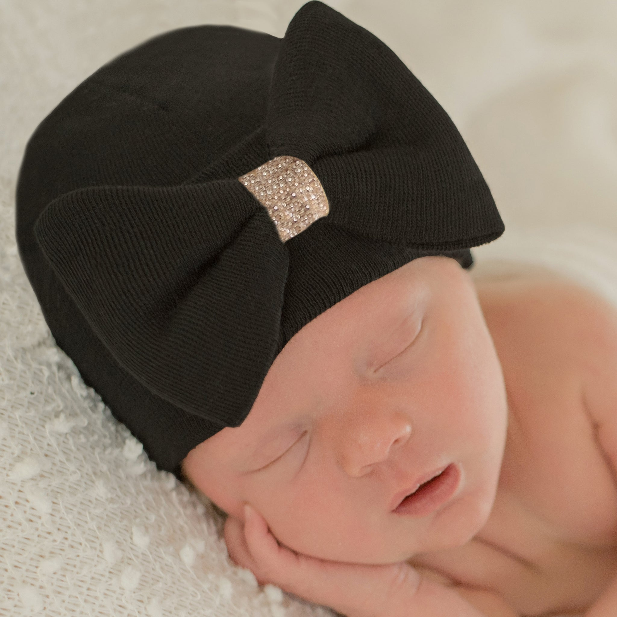 ILYBEAN Black GOLD SHIMMER BOW Newborn Girl Hospital Hat- Newborn Girl Nursery Beanie