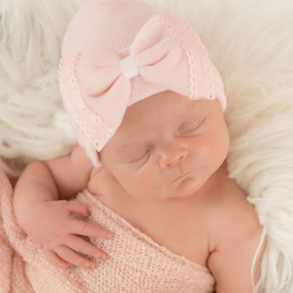 ilybean Blanche Bow Newborn Girl Hospital Hat - Pink Newborn Girl Hospital Hat