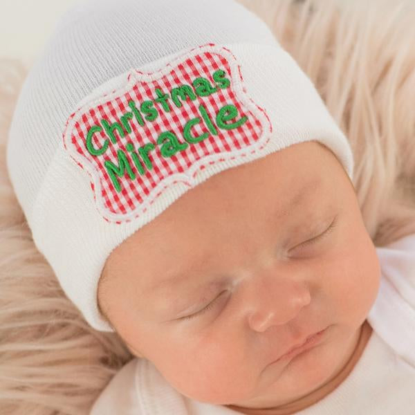 Christmas Miracle Newborn Christmas Hospital Hat - Newborn Girl or Boy Christmas Hat