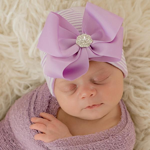 ilybean Ciara Bow Purple and  White Striped Hospital Hat with Purple Ribbon Bow with Rhinestone Center - Newborn Girl Hospital Hat