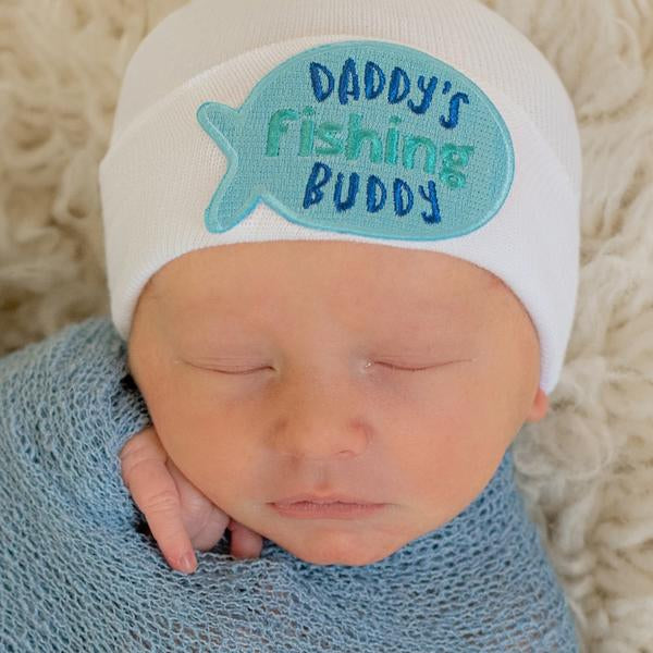 Daddy's Fishing Newborn Boy Hospital Hat - White Hospital Hat Newborn Boy- Fishing Buddy Patch