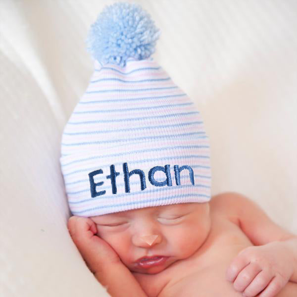 ilybean Personalized Traditional Stripe Blue Pom Pom Newborn Boy Hospital Hat