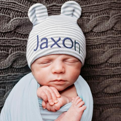 Grey and White Striped Bear Personalized Newborn Boy Hospital Hat