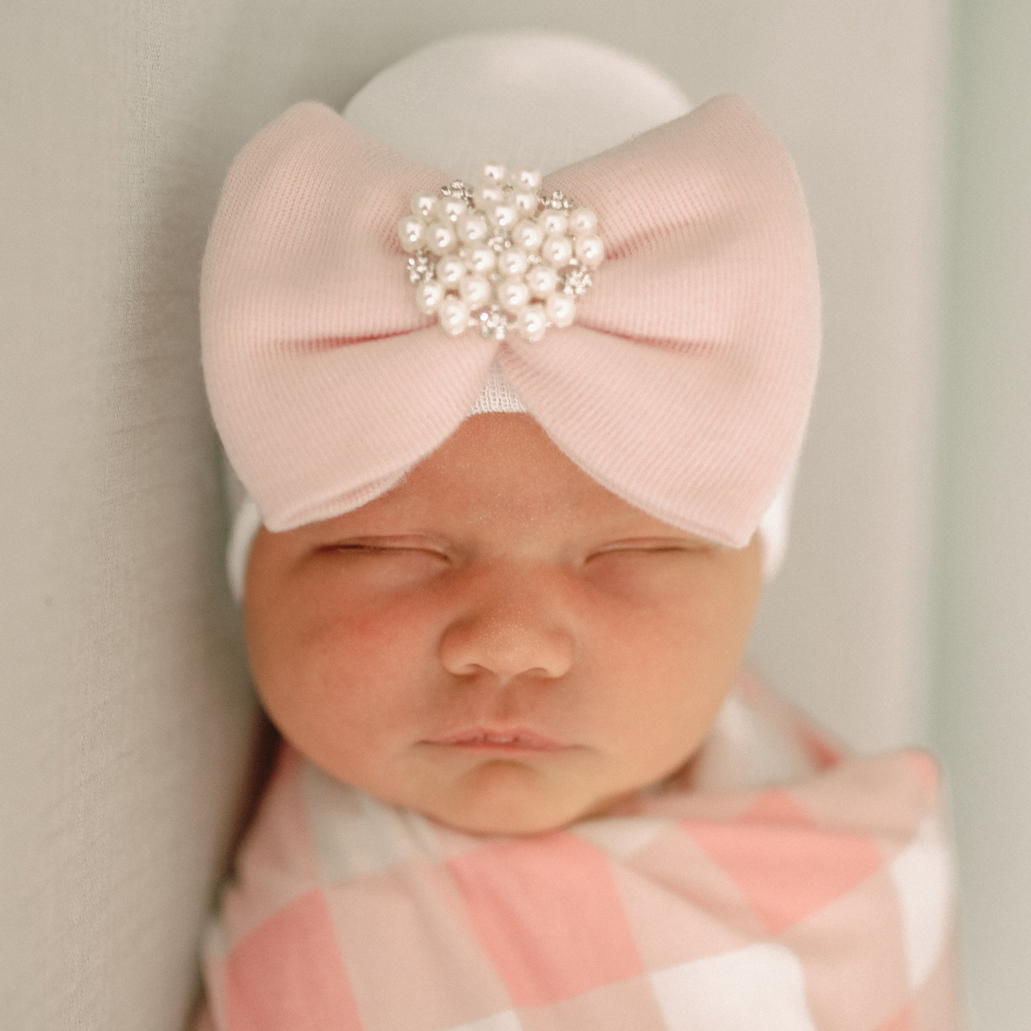 ilybean Irene Newborn Girl Hospital Hat with Pearl and Rhinestone Jewel at Center