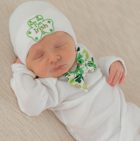 ilybean Kiss Me I'm Irish Bow Tie and Beanie SET - St. Patrick's Day Newborn Boy