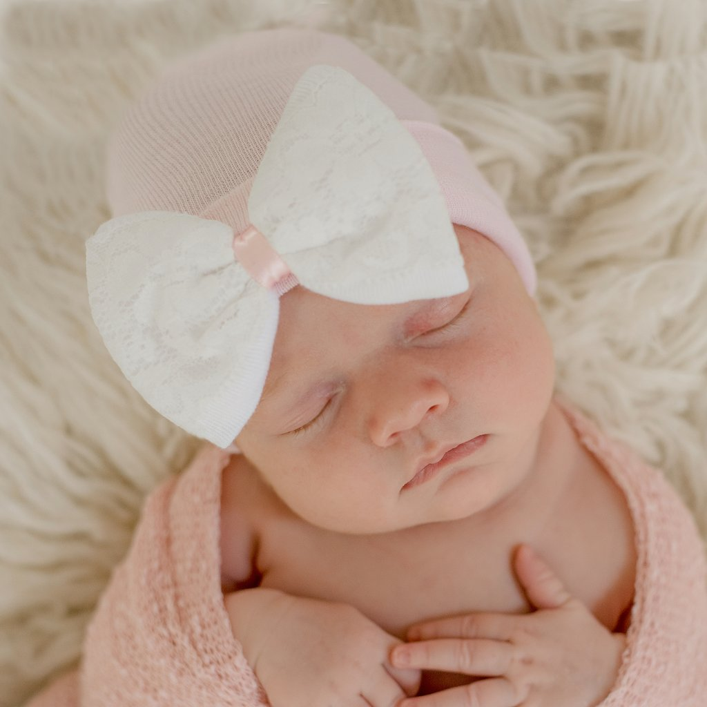 ilybean Lace Covered White Bow And Pink Newborn Hospital Hat- Nursery Beanie For Girls