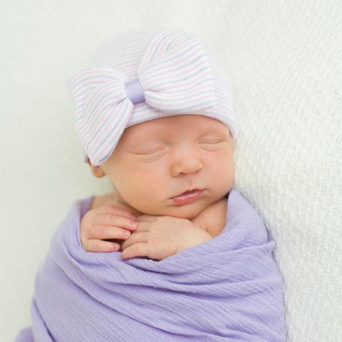 Lavender Striped with Bow Baby Girl Newborn Hospital Hat- LAVENDER RIBBON