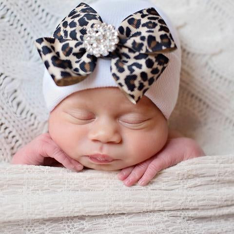 Leopard Bow with Jewel Newborn Girl White Nursery Hat - Leopard Print Bow with Jewel at Center