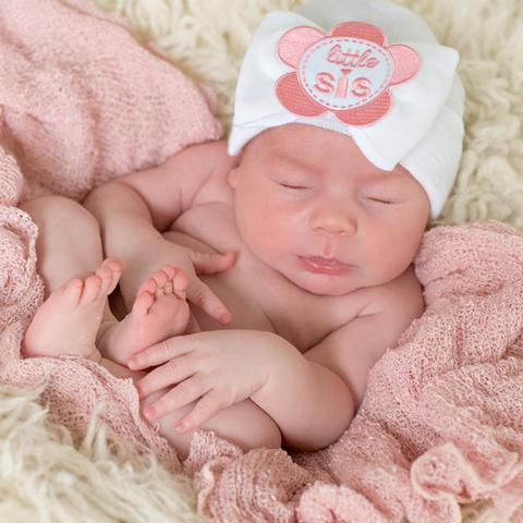 ilybean Little Sis Flower Patch WHITE (or PINK) Big Bow Newborn Girl Hospital Hat