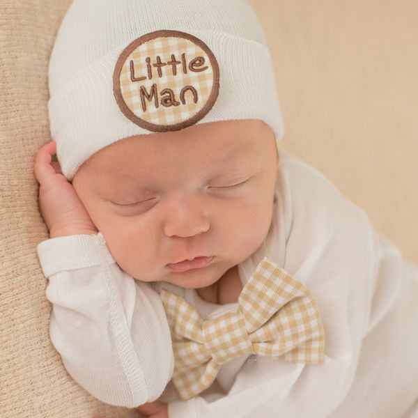 ilybean Little Man Gingham Bow Tie and Beanie SET - Newborn Boy Take Home Set