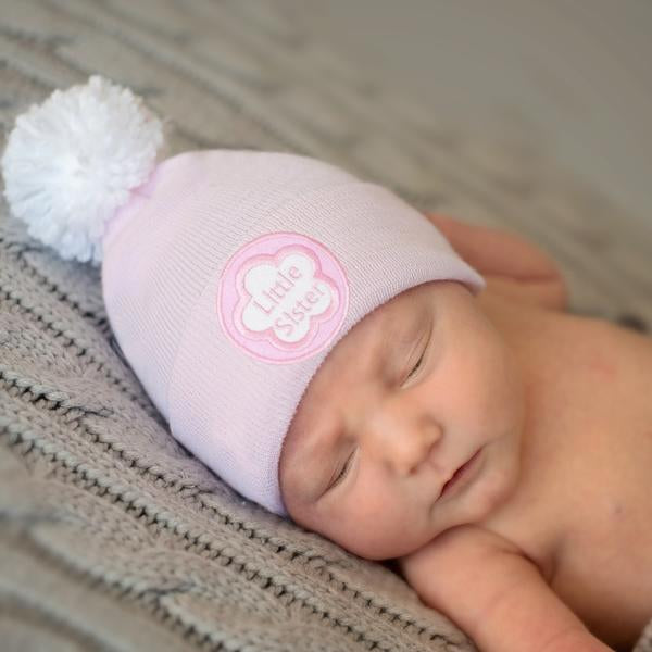 ilybean White Pom Pom Little Sister Pink Newborn Girl Hospital Hat - Pink Hat