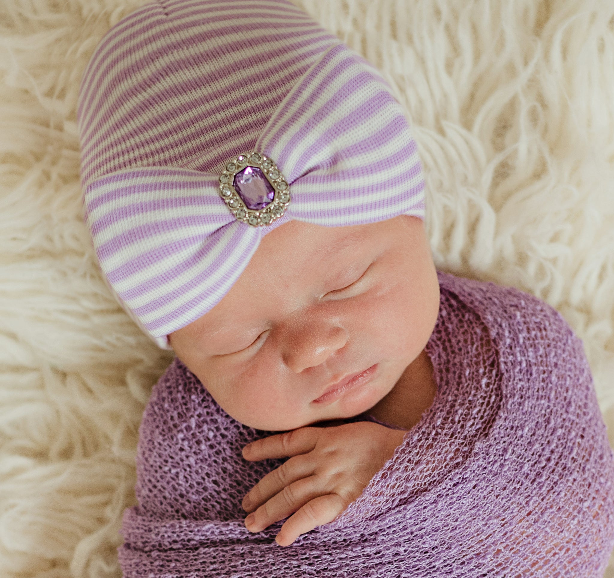 Ilybean Lucy Lavender Purple and White Striped Newborn Girl Hospital Hat with Purple Rhinestone Jewel for Newborn Girls