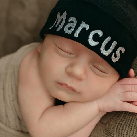 ilybean Personalized Black Hospital Hat Newborn Boy Hospital Hat and Nursery Beanie