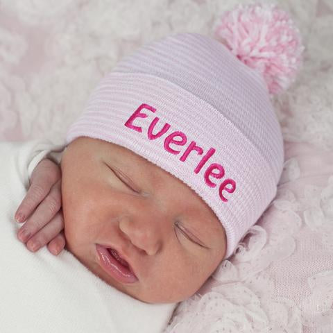 ilybean Personalized Striped Pink and White Nursery Hospital Hat with Mixed Pink and White Pom Pom