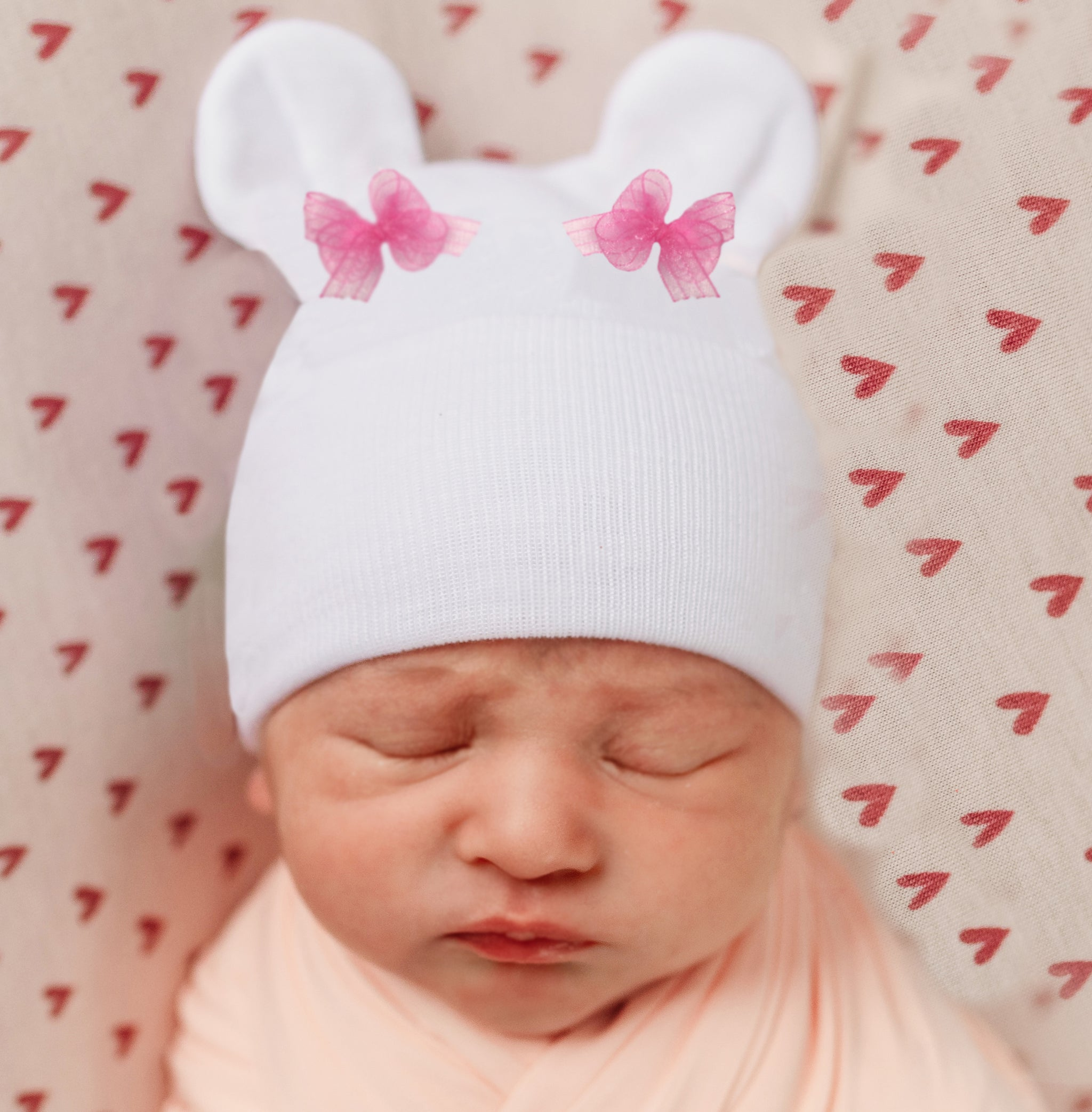 ilybean White Bear Ears with Tiny Pink Bows Newborn Girl Hospital Hat
