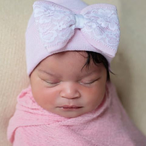 ilybean Lace Covered Pink Bow and Pink Newborn Hospital Hat- Nursery Beanie for Girls