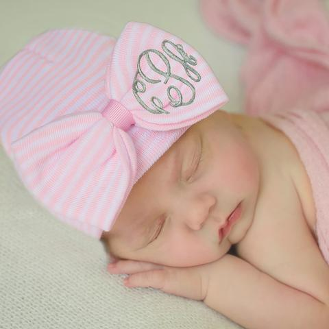 ilybean WIDE Pink and White Striped Bow with Monogrammed Initials Nursery Newborn GIRL hospital hat