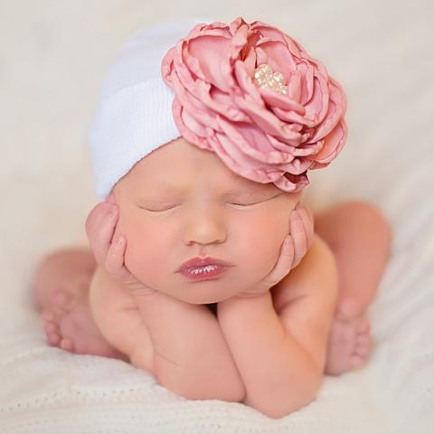 ilybean White Hat with Layered Purple (or Pink) Silk Flower with Pearl Rhinestone Center Newborn
