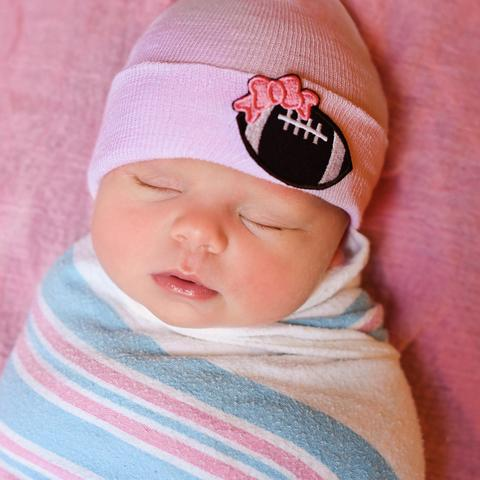 ilybean White or Pink Football Bow Patch Newborn Girl Hospital Hat -Football Newborn Girl Hat