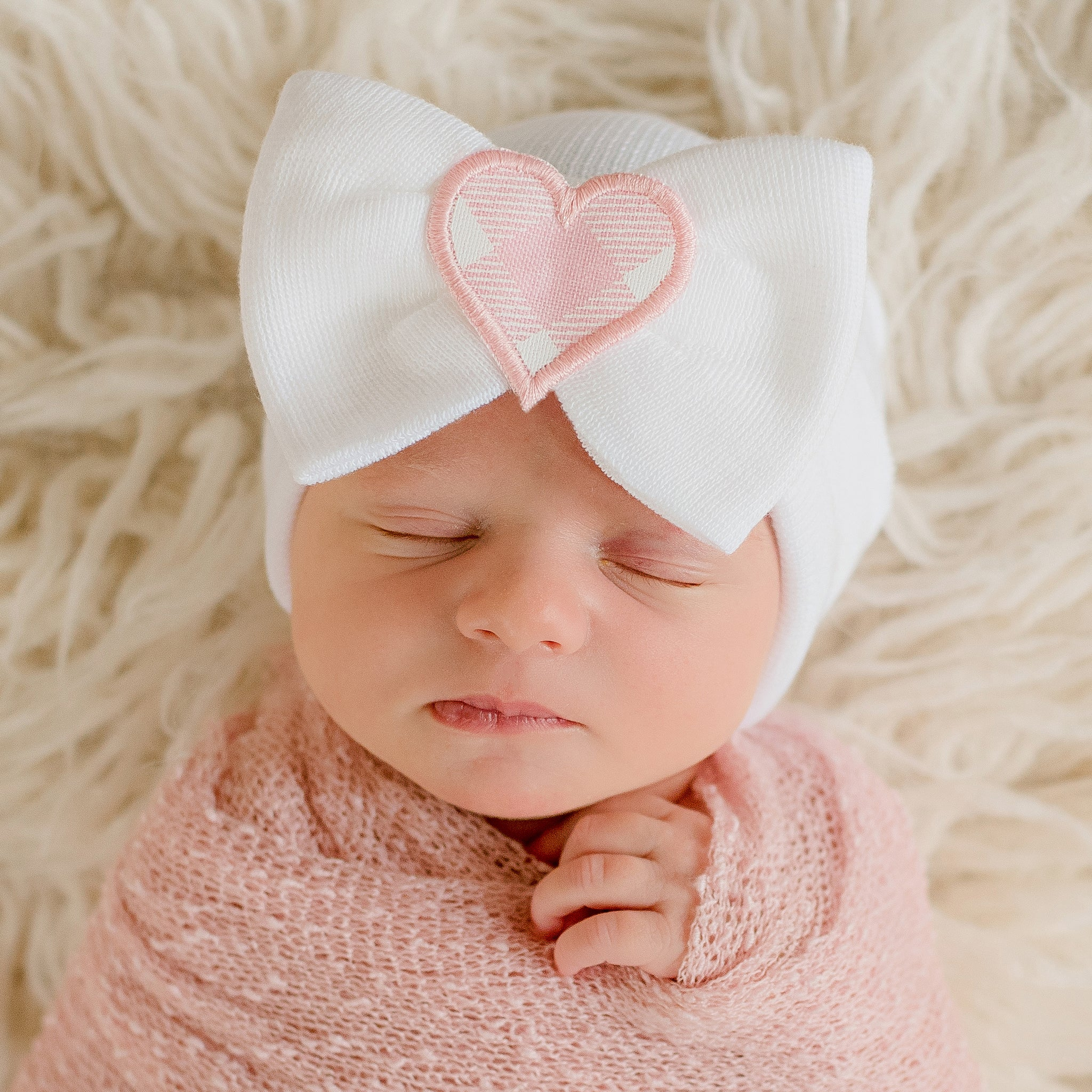 Haley Heart Newborn Girl Big Bow and Gingham Heart Patch Hospital Hat