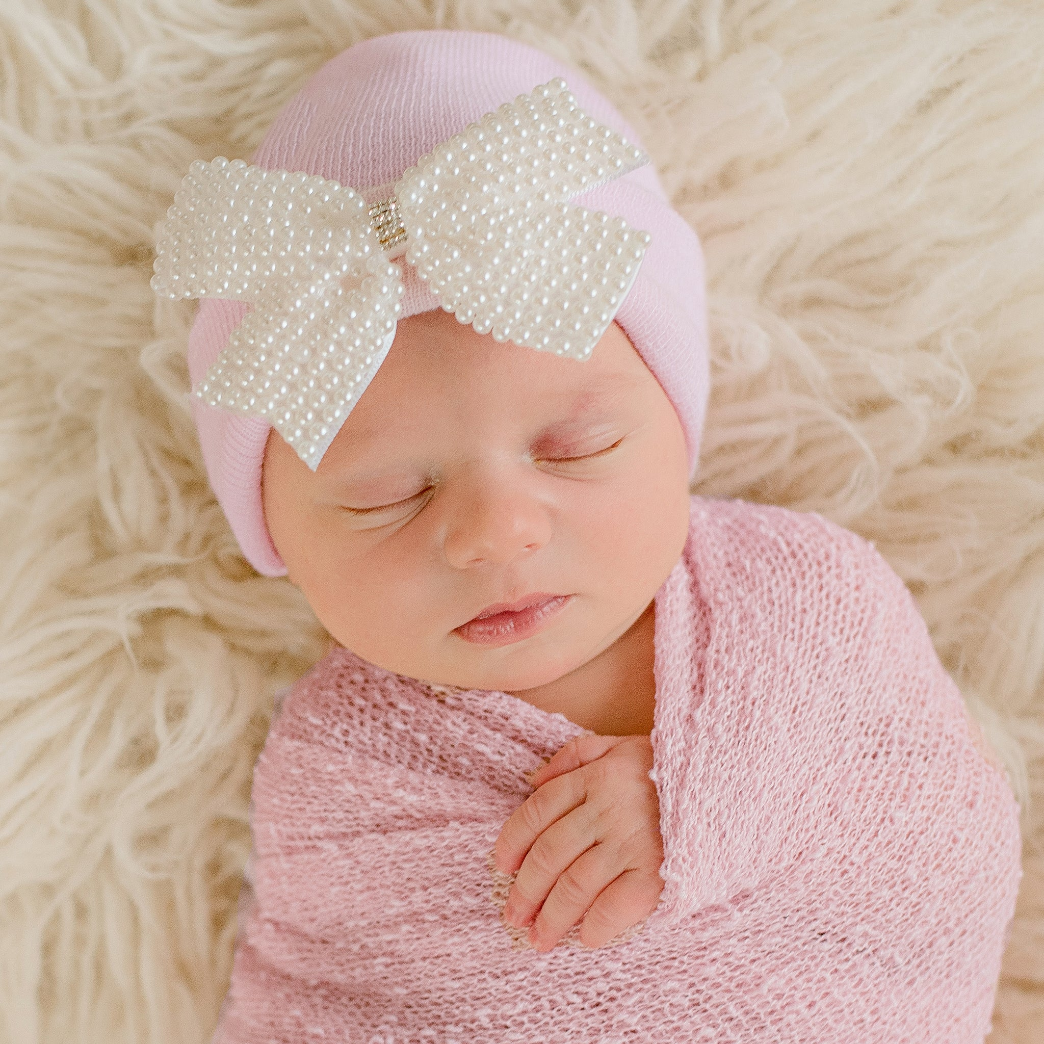 Lacey Pearl Bow Nursery Newborn Girl Pink Hospital Hat