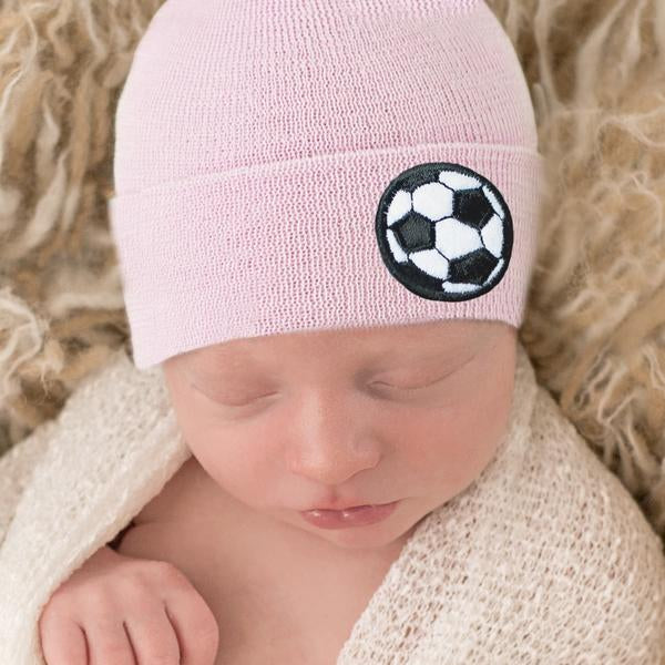 Pink Soccer Girl Newborn Girl Hospital Hat - Pink Hospital Hat Newborn with soccer patch