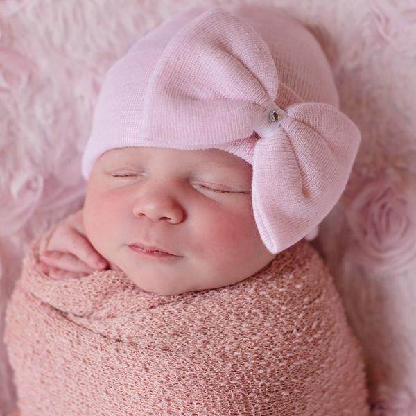 ilybean Polly Pink Big Bow Newborn Girl Hospital Hat - Pink Hospital Hat Newborn - Pink Bow