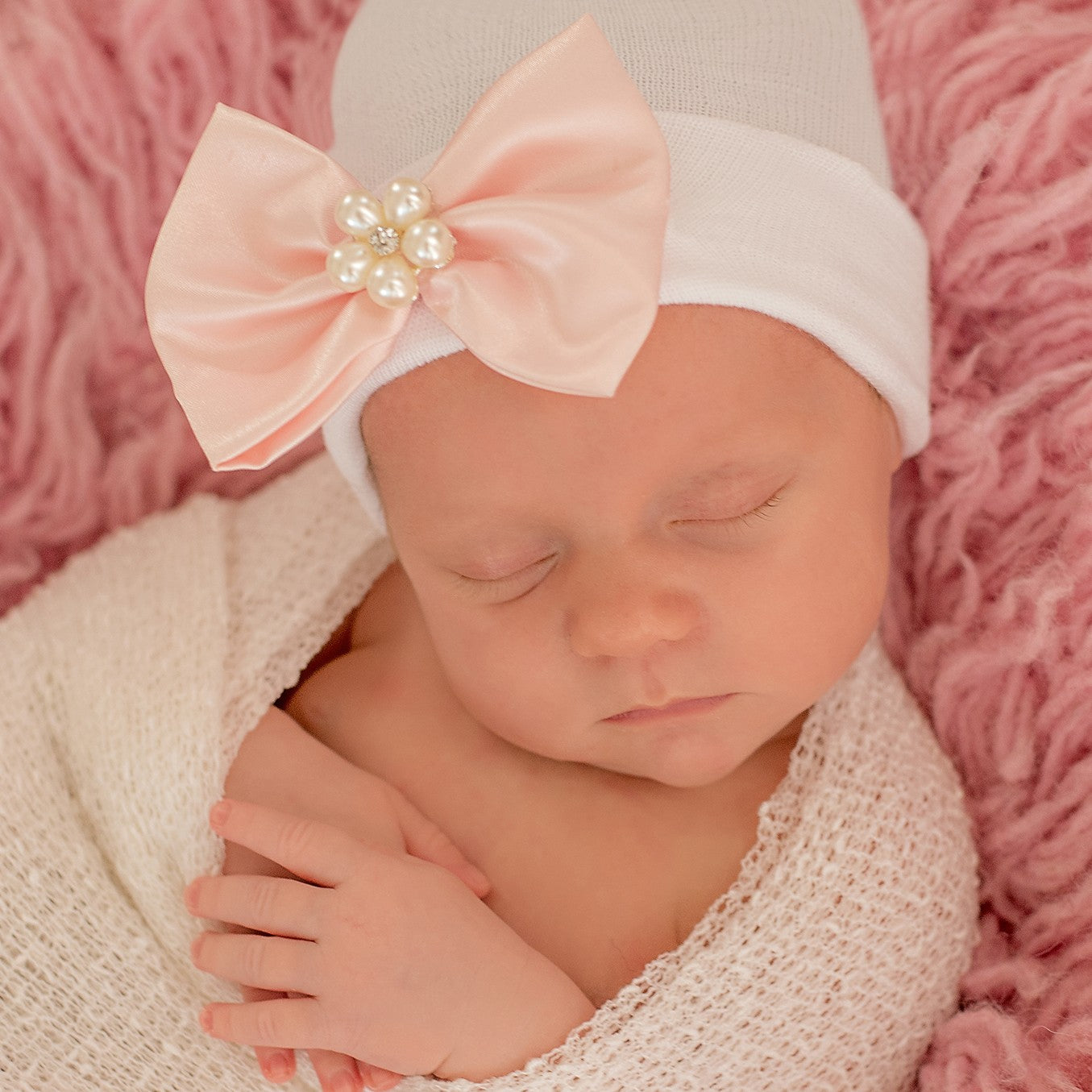 Priscilla Pink Satin Ribbon Bow with Pearl Flower Gem Newborn Girl Hospital Hat - Newborn Girl Hat