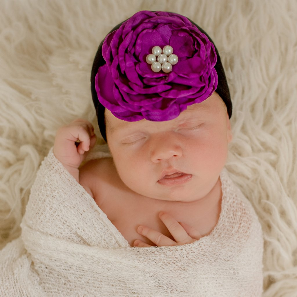 Black Hat Layered Deep Purple Colored Silk Flower With Pearl Rhinestone Center Newborn
