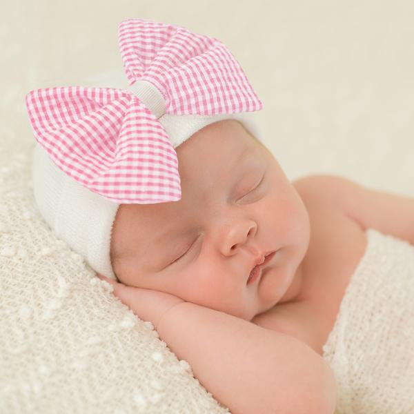 ilybean Seersucker CHECK Pink and White Bow Newborn Girl Hospital Hat Newborn Girl Hat