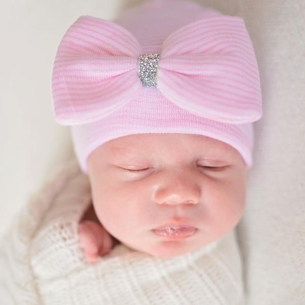 Silver Shimmer Ribbon Pink and White Striped Newborn Girl Hospital Hat