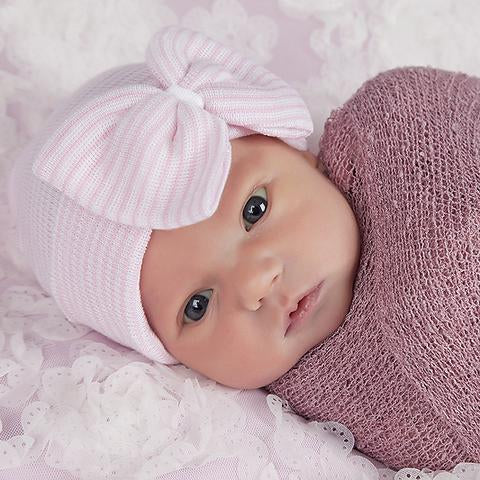 ilybean So Sweet Pink and White Striped Hospital Hat with Pink Ribbon Bow
