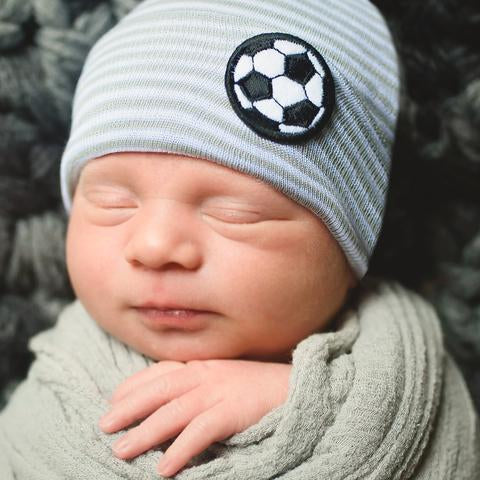 ilybean Grey & White Striped Goal Newborn Boy Hospital Hat - SOCCER Striped Hospital Hat Newborn Boy