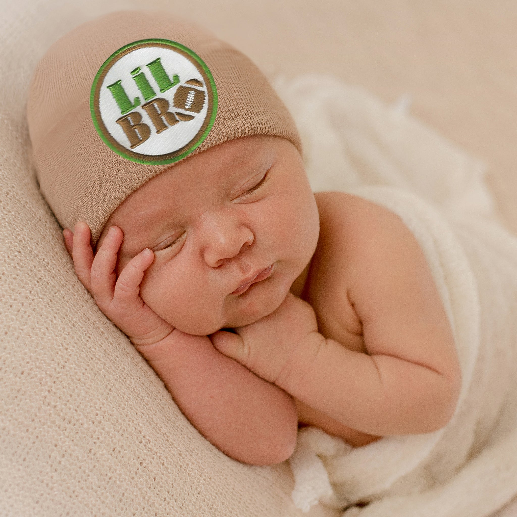 Tan Little Bro Football Newborn Boy Hospital Hat