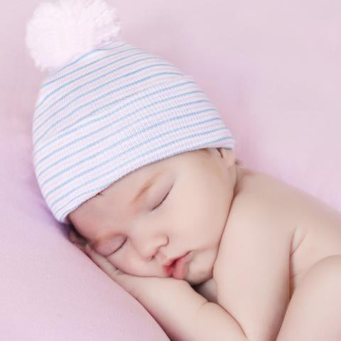ilybean Traditional Nursery Striped PINK Pom Pom Hat for Newborn Girls - Hospital Hat