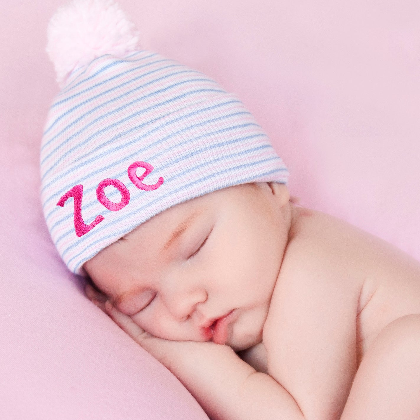 ilybean Personalized Traditional Stripe with PINK Pom Pom Newborn Girls Hat