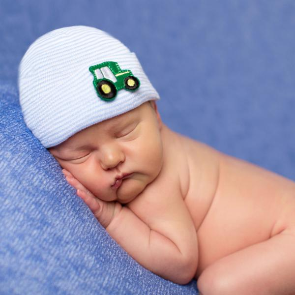 ilybean Tractor Blue and White Striped Newborn Boy Hospital Hat Newborn Boy