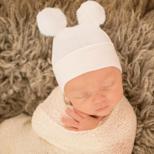 ilybean Double White Pom Pom Hospital Hat Newborn Gender Neutral Hospital Hat