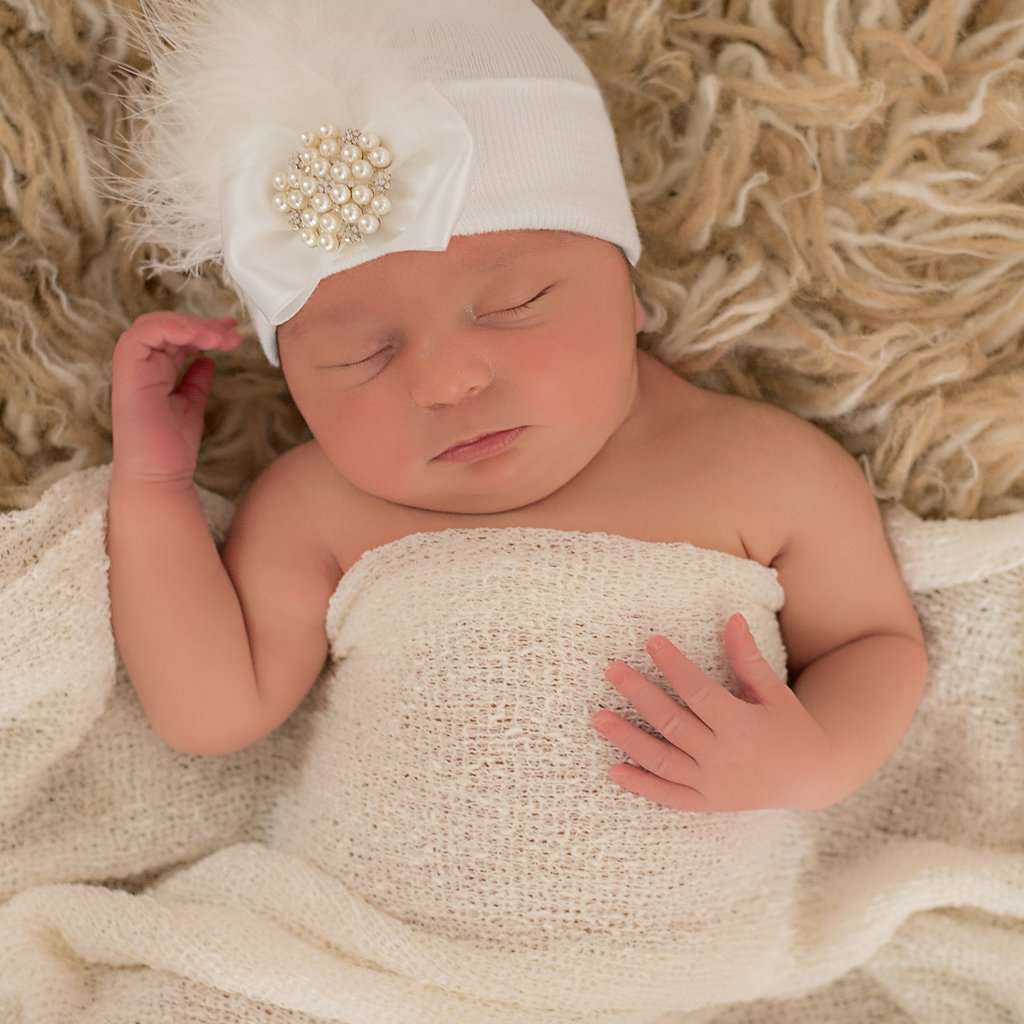 White Fancy Feather With Pearl And Rhinestone Jewel Newborn Girl Hospital Hat - White Hospital Hat