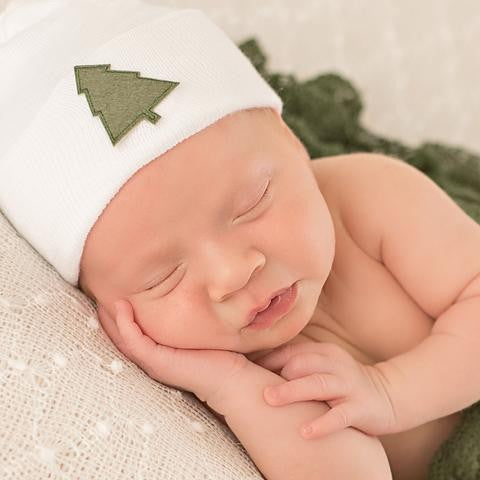 ilybean Solid White Christmas Tree Hospital Hat - Gender Neutral - Boy or Girl Newborn Hat