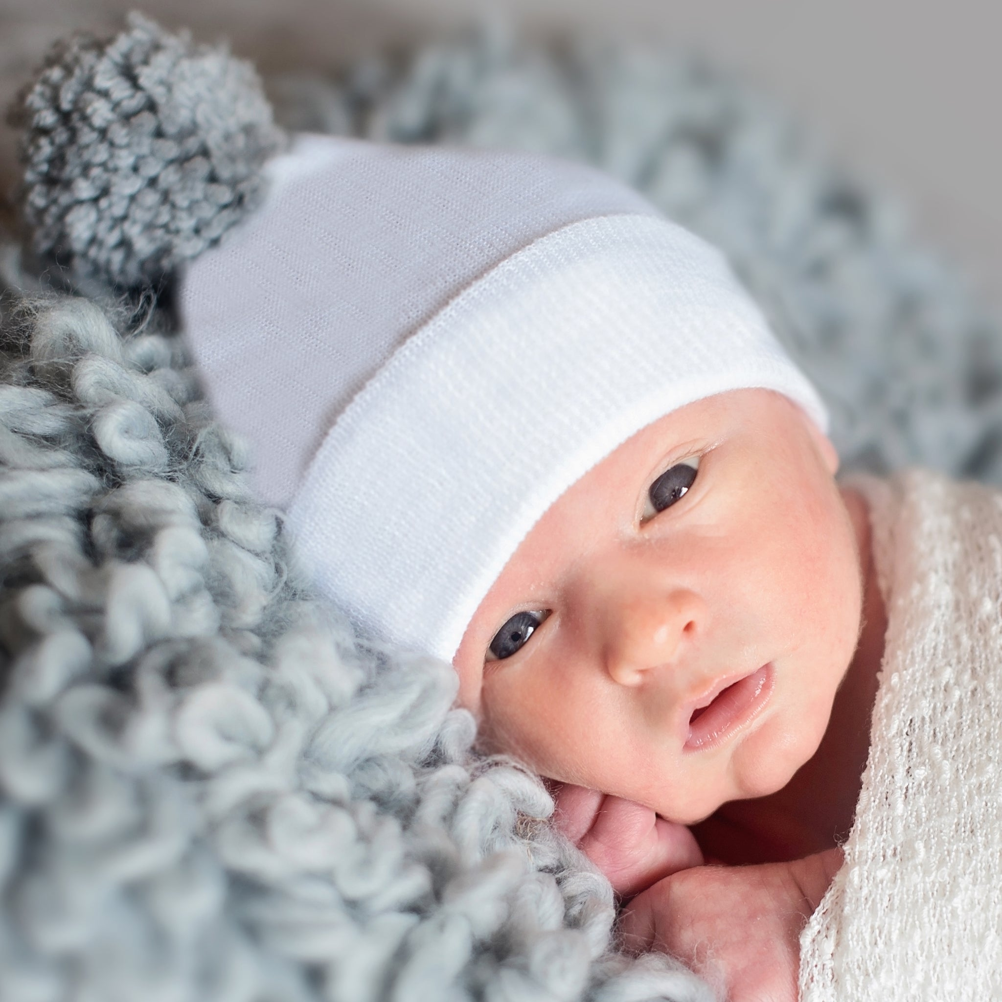 ilybean White Newborn Boy Hospital Hat with Handmade Grey Pom Pom